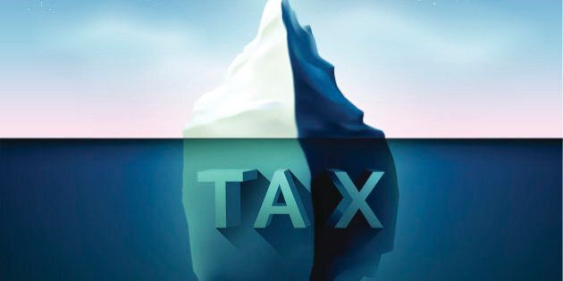Iceberg with star lighting in sky.compare of earnings and tax concept