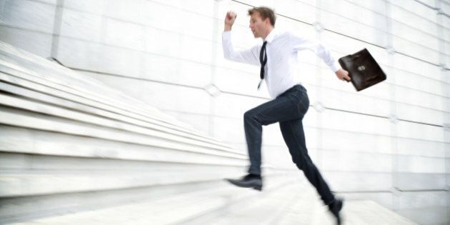 Motion Blur Office Worker Leaps Up White