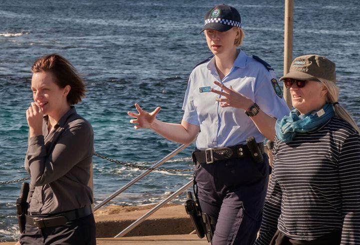 Moss, Christie and Campion on set in Bondi Beach.