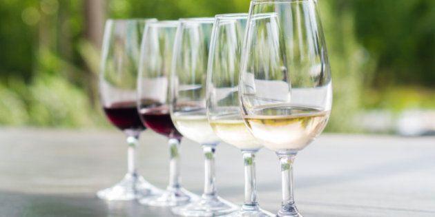 Wine tasting in Stellenbosch, South Africa. From the front: blanc de noir, chardonnay, sauvignon blanc,...