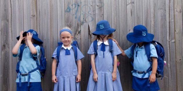 schoolchildren in a