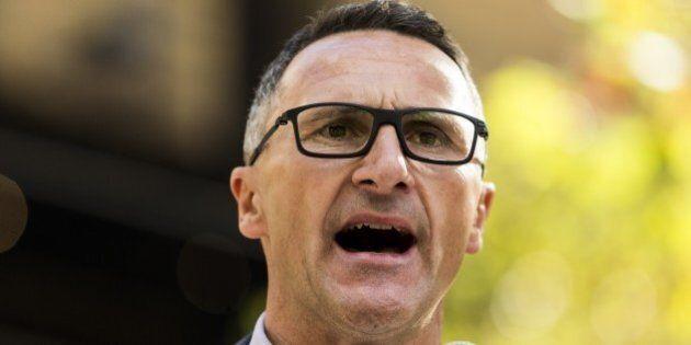 MELBOURNE, AUSTRALIA - APRIL 30: Australian senator and greens leader Richard Di Natale delivers a speech...