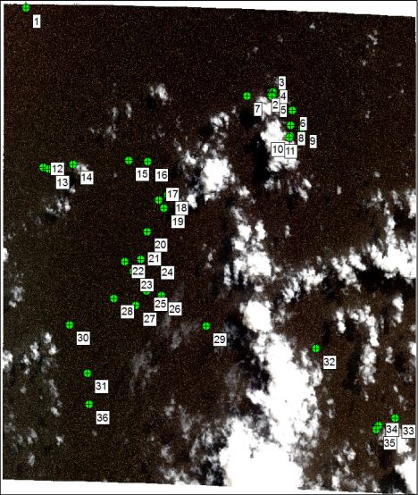 """What looks like a bunch of dots is satellite image PHR_4. There are 36 objects in this frame, 9 of which are """"probably man-made""""."""