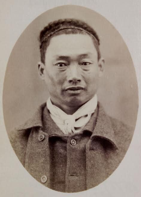 1881 Ah Tun, a police mug shot of the gardener who had been charged with 'larcency in a