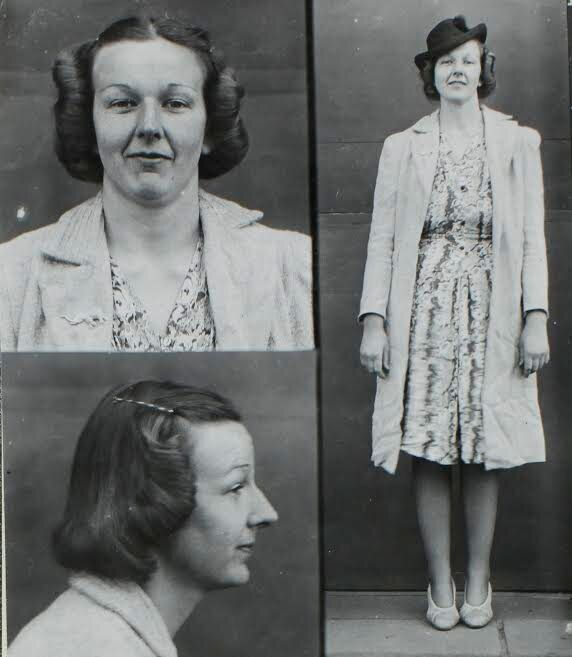 The Victory Roll was popular in the 1940s. This police mug shot shows a waitress charged with robbery.
