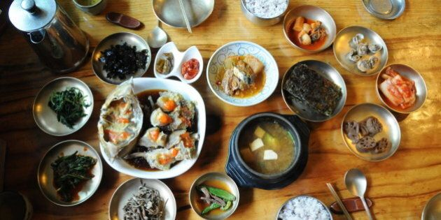 Korean traditional dishes with seasoned raw crab at Korean traditional