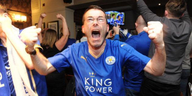 LEICESTER, ENGLAND - MAY 02: Leicester City Fans at The Local Hero pub on Freemans Common watching Tottenham...
