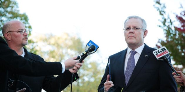 CANBERRA, AUSTRALIA - MAY 03: Treasurer Scott Morrison speaks during a door stop outside Parliament House...