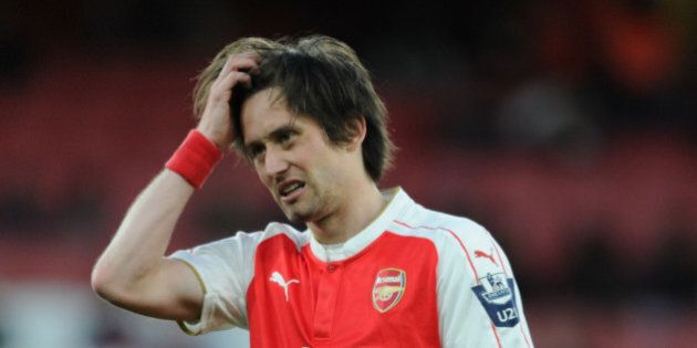 LONDON, ENGLAND - MAY 03: Tomas Rosicky of Arsenal during the Barclays U21 Premier League match between...