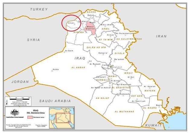 Sinjar, circled in red, and Mosul, in shaded