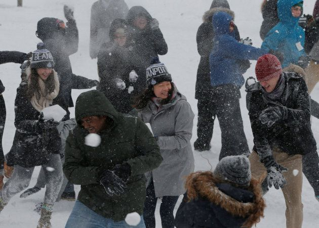 It's not easy to illustrate a climate change debate so here's a snowball fight. Kind of puts us in the ball park, no?