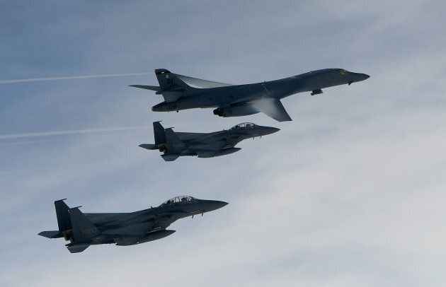 In this handout photo released by the South Korean Defense Ministry, A U.S. Air Force B-1B Lancer bomber...