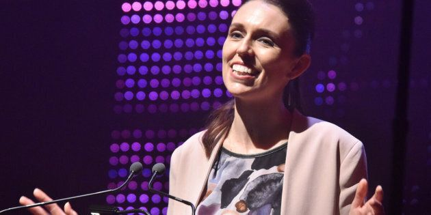 Labour Party leader Jacinda Ardern makes a speech during the official campaign launch at Auckland Town Hall in New Zealand on Aug. 20, 2017.