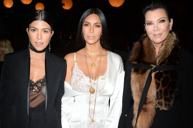 Kourtney Kardashian, Kim Kardashian and Kris Jenner attend the Givenchy show in Paris earlier in the...