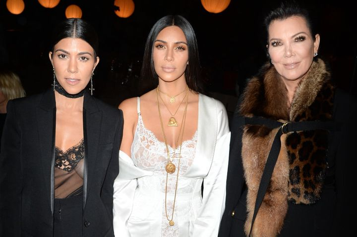 Kourtney Kardashian, Kim Kardashian and Kris Jenner attend the  Givenchy show in Paris earlier in the day before the robbery took place.