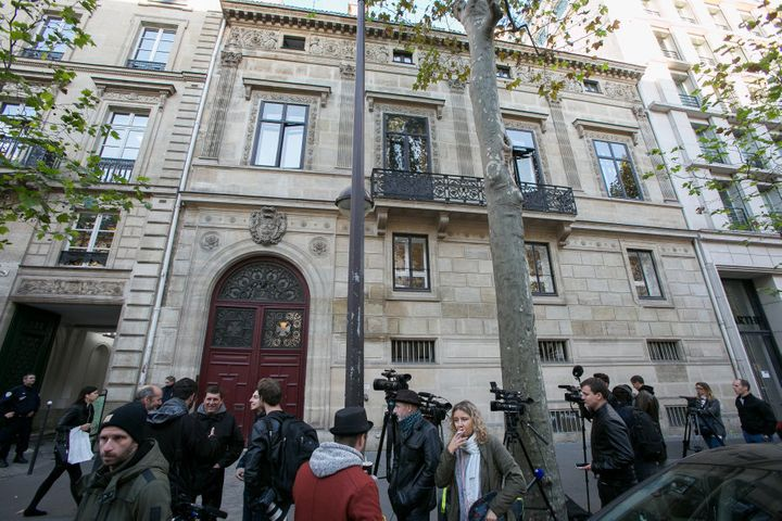 Journalists stand in front of Kim Kardashian West's luxury apartment, Hotel de Pourtales on Rue Tronchet, after being robbed at gunpoint by masked men.