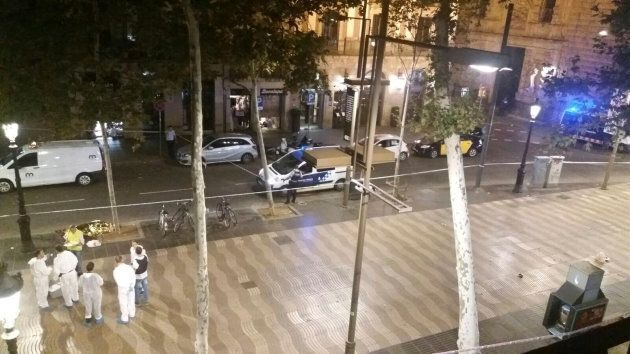 Tourist hotspot Las Ramblas was cleared by police in the wake of the van