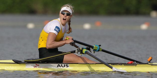 Really??? Kim is shocked to learn she's just won the first of her two world championships in the single sculls. This one was in 2013. The next came in 2015.
