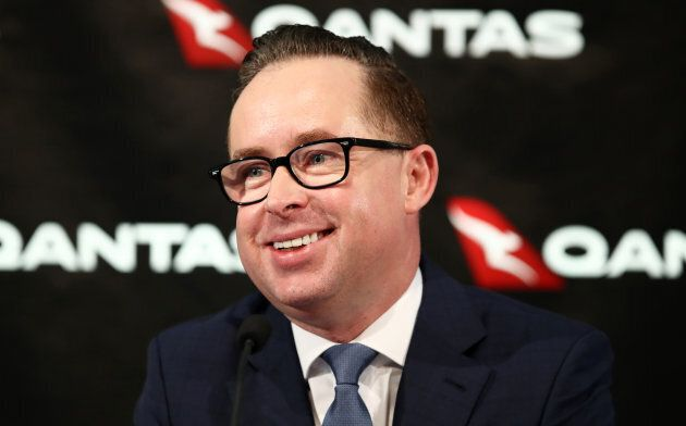 Alan Joyce, chief executive officer of Qantas Airways Ltd., smiles during a news conference in Sydney.