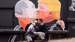 Artist Makes Massive Poster Of Trump And Putin Sharing A