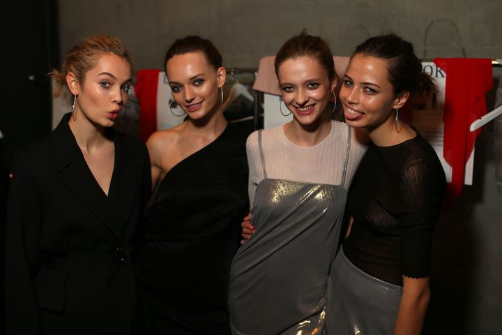 SYDNEY, AUSTRALIA - MAY 16:  Models pose backstage ahead of the Georgia Alice show at Mercedes-Benz Fashion Week Resort 17 Collections at Carriageworks on May 16, 2016 in Sydney, Australia.  (Photo by Graham Denholm/Getty Images)