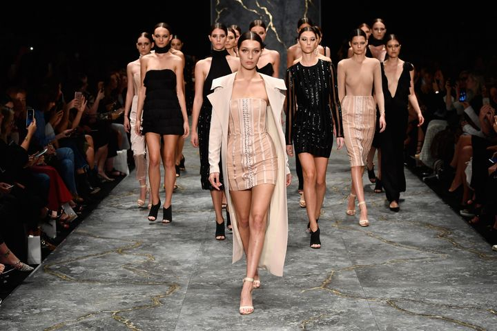 SYDNEY, AUSTRALIA - MAY 16:  Model Bella Hadid leads models as they walk the runway during the Misha Collection show at Mercedes-Benz Fashion Week Resort 17 Collections at Carriageworks on May 16, 2016 in Sydney, Australia.  (Photo by Stefan Gosatti/Getty Images)