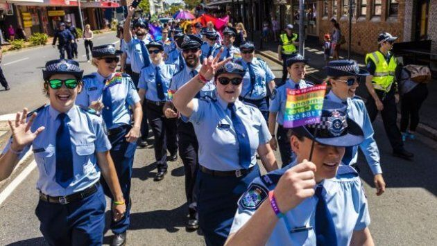Queensland Police officers marched in the Brisbane Pride Festival for the first time in 2015.