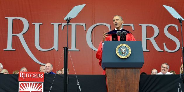 U.S. President Barack Obama delivers remarks to the 2016 graduating class at High Point Solutions Stadium during Rutgers University's 250th commencement exercises, in New Brunswick, New Jersey, May 15, 2016.            REUTERS/Mike Theiler