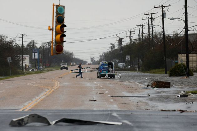 Debris on the streets of Rockport, Texas after Hurricane Harvey hit the