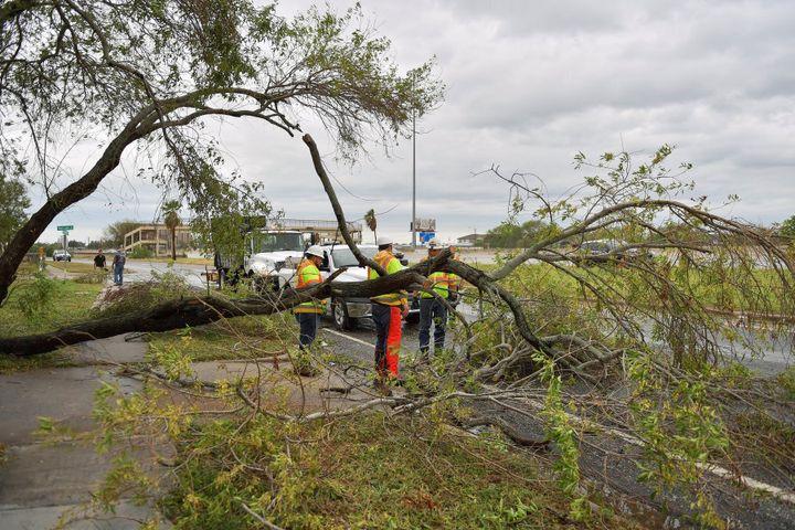 Emergency services respond to devastation after Hurricane Harvey.
