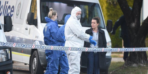 Detectives and forensic services remained at the site of the shooting in Sydney's Lalor Park on Monday