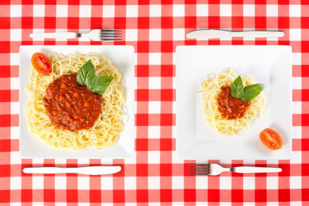 Tip: add lots of veggies to your pasta sauce or mix zucchini noodles with the spaghetti.