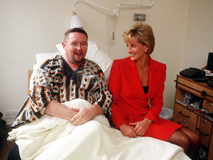 Princess Diana visiting a patient at the London Lighthouse, a centre for people affected by HIV and AIDS,...