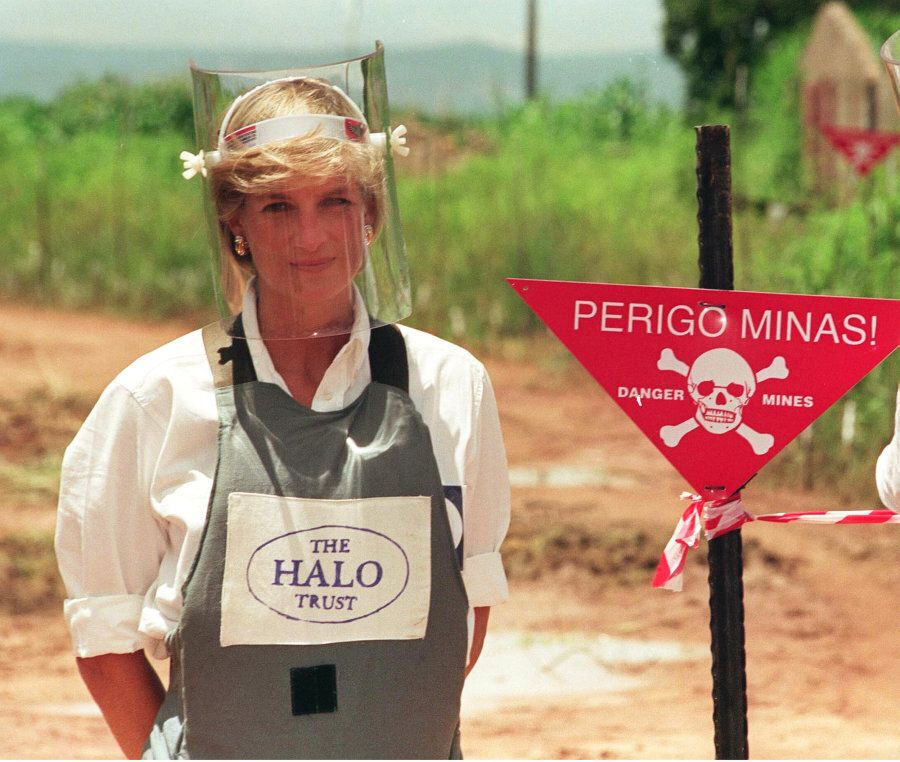 Diana Princess of Wales promoting her campaign against the use of landmines in Angola in January