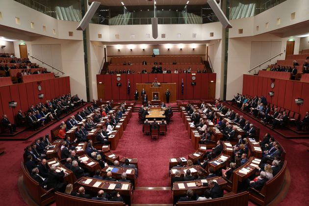 Governor-General Sir Peter Cosgrove opens the Parliament during a joint sitting in the Senate Chamber...