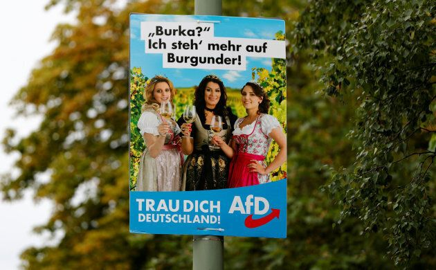 An election campaign poster for the anti-immigration party Alternative for Germany (AfD) in Berlin. The...