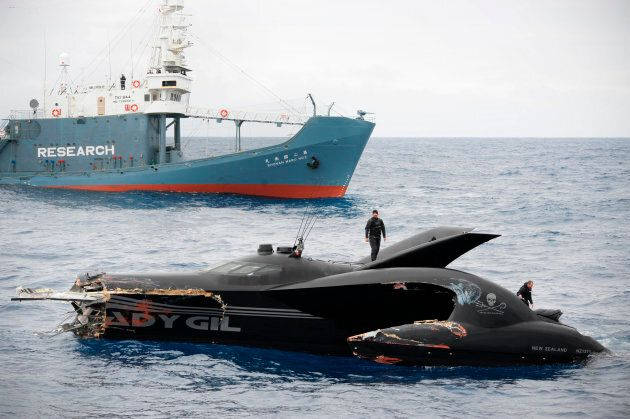The damaged powerboat Ady Gil, which belongs to the Sea Shepherd Conservation Society, floats near the...