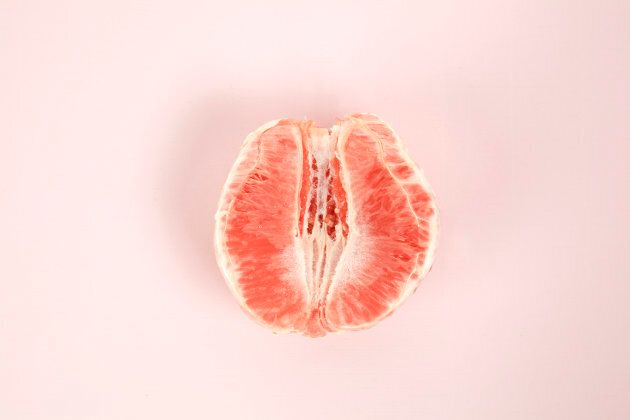 We'll just leave this picture of a half-peeled grapefruit