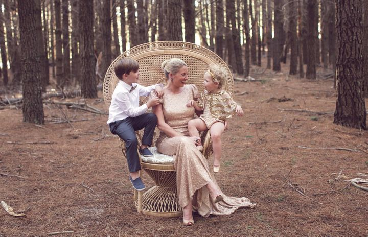 Withers with her children.