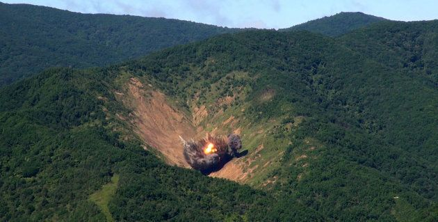 A bomb hits a mock target at the Pilseung Firing Range on August 29, 2017 in Gangwon-do, South Korea....
