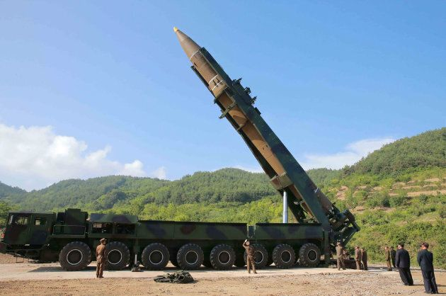 Kim Jong-Un inspects the test-fire of the intercontinental ballistic missile Hwasong-14 at an undisclosed location.