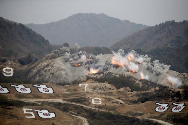 Explosions are seen at a target, during a U.S.-South Korea joint live-fire military exercise near the...