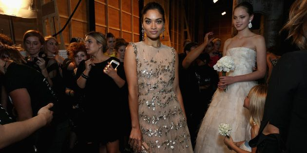 SYDNEY, AUSTRALIA - MAY 20:  Shanina Shaik poses backstage ahead of the Oscar de la Renta show, presented by Etihad Airways, at Mercedes-Benz Fashion Week Resort 17 Collections at Carriageworks on May 20, 2016 in Sydney, Australia.  (Photo by Lisa Maree Williams/Getty Images)