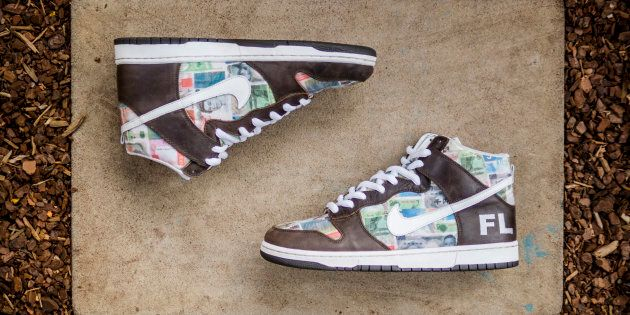 The FLOM Nike Dunk SB sneakers up for grabs, if you have the cash.