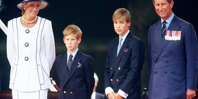 The Prince & Princess Of Wales and Princes William & Harry attend The Vj Day 50th anniversary celebrations...