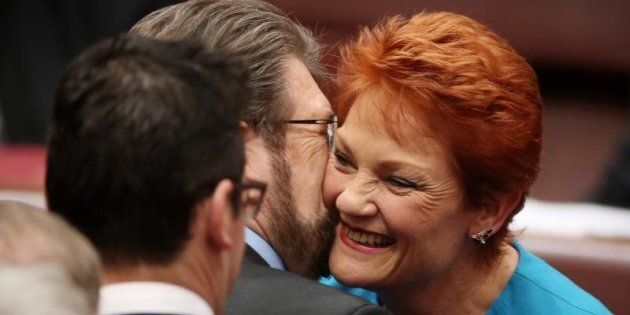 Senator Pauline Hanson and Senator Derryn Hinch in happier