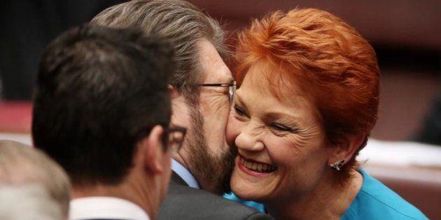 Senator Pauline Hanson and Senator Derryn Hinch in happier times