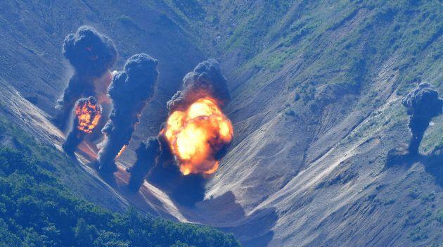 Bombs hit mock target at the Pilseung Firing Range on August 31, 2017 in Gangwon-do, South Korea.