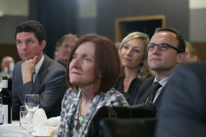 Rachel Siewert (front) with fellow Greens Scott Ludlam, Larissa Waters and Adam Bandt
