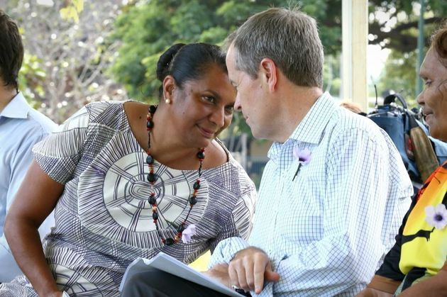 Shorten with former Senator Nova Peris during a National Sorry Day event in Darwin in